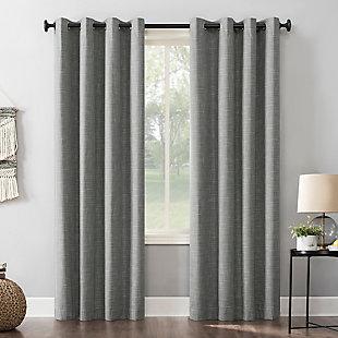 "Sun Zero Kline Burlap Weave Thermal Extreme 100% Blackout 52"" x 96"" Gray Grommet Curtain Panel, Gray, large"