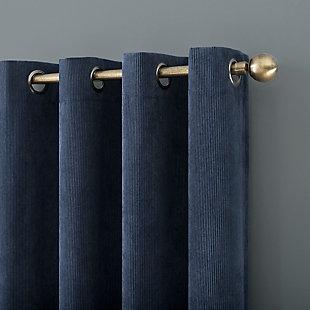 "No. 918 Level Plush Corduroy Room Darkening 50"" x 96"" Navy Blue Grommet Curtain Panel, Navy Blue, large"