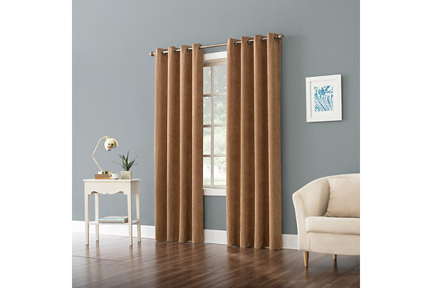 "No. 918 Level Plush Corduroy Room Darkening 50"" x 96"" Pecan Grommet Curtain Panel, Pecan, large"
