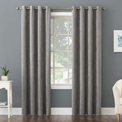 "No. 918 Level Plush Corduroy Room Darkening 50"" x 84"" Gray Grommet Curtain Panel, Gray, large"