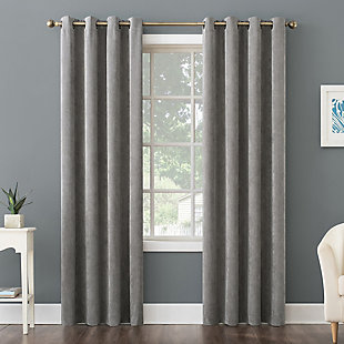 "No. 918 Level Plush Corduroy Room Darkening 50"" x 84"" Gray Grommet Curtain Panel, Gray, rollover"