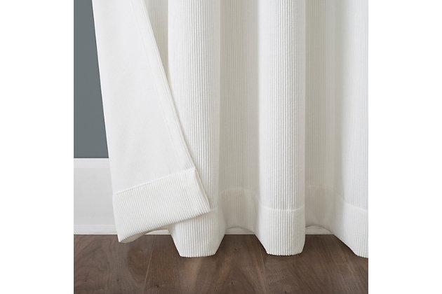 "No. 918 Level Plush Corduroy Room Darkening 50"" x 96"" Pearl Grommet Curtain Panel, Pearl, large"