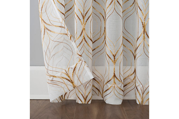 """No. 918 Raina Space Dyed Trellis Embroidery Sheer 50"""" x 63"""" Brass Rod Pocket Curtain Panel, Brass, large"""
