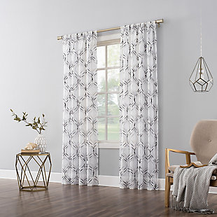 """No. 918 Raina Space Dyed Trellis Embroidery Sheer 50"""" x 63"""" Charcoal Gray Rod Pocket Curtain Panel, Charcoal Gray, large"""