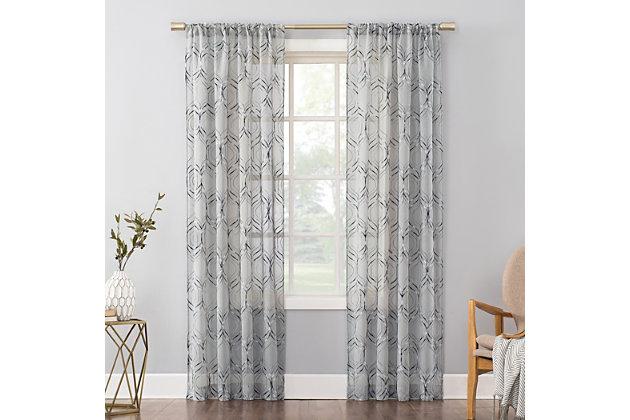 "No. 918 Raina Space Dyed Trellis Embroidery Sheer 50"" x 84"" Harbor Blue Rod Pocket Curtain Panel, Harbor Blue, large"