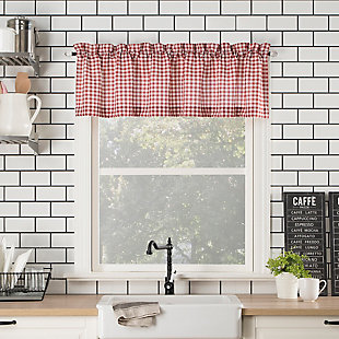 """No. 918 Perry Farmhouse Plaid Semi-Sheer 54"""" x 14"""" Red/White Rod Pocket Kitchen Curtain Valance, Red/White, rollover"""