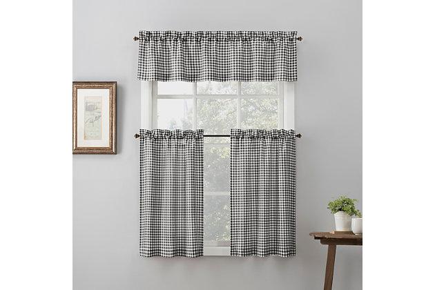 "No. 918 Perry Farmhouse Plaid Semi-Sheer 54"" x 14"" Black/White Rod Pocket Kitchen Curtain Valance, Black/White, large"