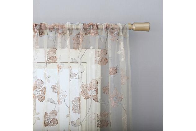 "No. 918 Olivia Embroidered Cottage Floral Sheer 50"" x 84"" Antique Rod Pocket Curtain Panel, Antique, large"