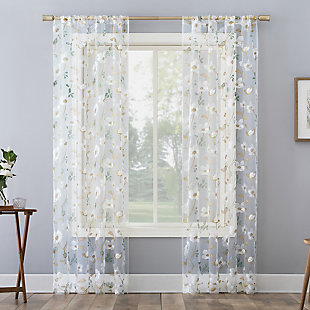 "No. 918 Olivia Embroidered Cottage Floral Sheer 50"" x 84"" White Rod Pocket Curtain Panel, White, large"