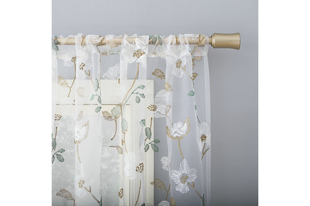 """No. 918 Olivia Embroidered Cottage Floral Sheer 50"""" x 84"""" White Rod Pocket Curtain Panel, White, large"""