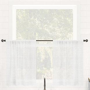 "Clean Window Textured Slub Stripe Anti-Dust Linen Blend Sheer 52"" x 24"" White Cafe Curtain Pair, White, rollover"