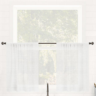 "Clean Window Textured Slub Stripe Anti-Dust Linen Blend Sheer 52"" x 24"" White Cafe Curtain Pair, White, large"