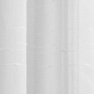 "Clean Window Textured Slub Stripe Anti-Dust Linen Blend Sheer 52"" x 24"" White Cafe Curtain Pair, White, large"