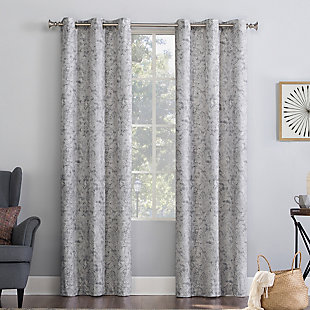 "No. 918 Kenji Medallion Draft Shield Fleece Insulated Room Darkening 40"" x 84"" Gray Grommet Curtain Panel, Gray, large"
