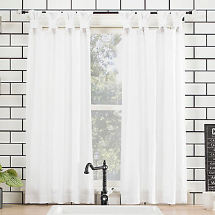 "Archaeo Washed Cotton Twist Tab 52"" x 45"", White Cafe Curtain Pair, , large"