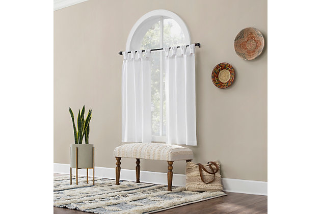 """Archaeo Washed Cotton Twist Tab 52"""" x 45"""", White Cafe Curtain Pair, , large"""