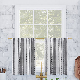 """Archaeo Slub Texture Stripe Cotton 52"""" x 24"""" Black/White Cafe Curtain Pair, Black/White, large"""