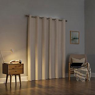 "Sun Zero Liam Heathered Strie Thermal Extreme 100% Blackout 40"" x 84"" Ecru Grommet Curtain Panel, Ecru, large"