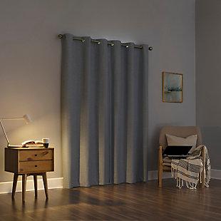 "Sun Zero Liam Heathered Strie Thermal Extreme 100% Blackout 40"" x 63"" Haze Grommet Curtain Panel, Haze, large"