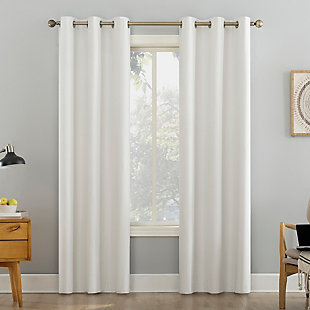 """Sun Zero Liam Heathered Strie Thermal Extreme 100% Blackout 40"""" x 96"""" Pearl Grommet Curtain Panel, Pearl, large"""