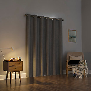 "Sun Zero Liam Heathered Strie Thermal Extreme 100% Blackout 40"" x 84"" Charcoal Grommet Curtain Panel, Charcoal, rollover"