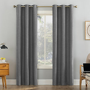 "Sun Zero Liam Heathered Strie Thermal Extreme 100% Blackout 40"" x 84"" Charcoal Grommet Curtain Panel, Charcoal, large"