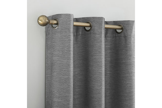 """Sun Zero Liam Heathered Strie Thermal Extreme 100% Blackout 40"""" x 84"""" Charcoal Grommet Curtain Panel, Charcoal, large"""
