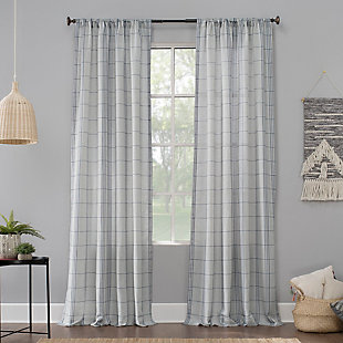 "No. 918 Castille Farmhouse Plaid Linen Semi-Sheer 54"" x 84"" Blue/Linen Rod Pocket Curtain Panel, Blue/Linen, large"