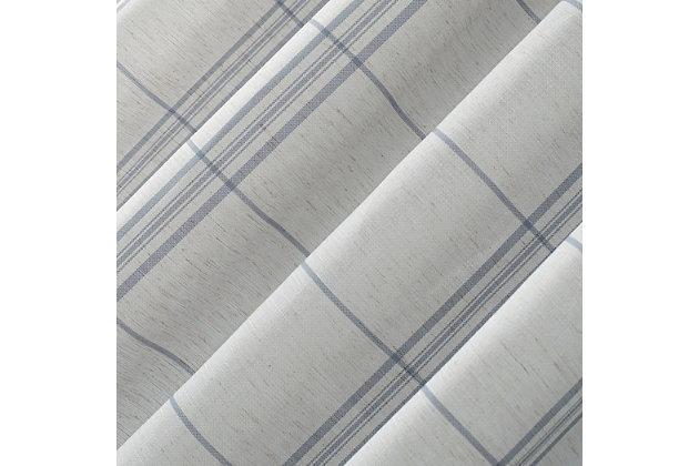"""No. 918 Castille Farmhouse Plaid Linen Semi-Sheer 54"""" x 84"""" Blue/Linen Rod Pocket Curtain Panel, Blue/Linen, large"""