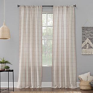 "No. 918 Castille Farmhouse Plaid Linen Semi-Sheer 54"" x 84"" Blush/Linen Rod Pocket Curtain Panel, Blush/Linen, large"