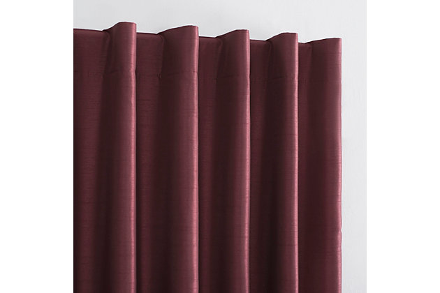 "Sun Zero Evelina Faux Dupioni Silk Thermal Extreme 100% Blackout 50"" x 95"" Bordeaux Red Back Tab Curtain Panel, Bordeaux Red, large"