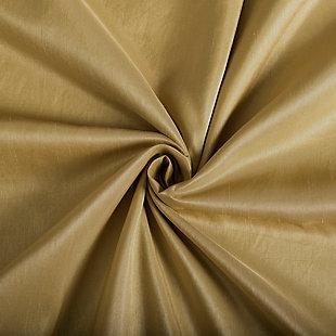 "Sun Zero Evelina Faux Dupioni Silk Thermal Extreme 100% Blackout 50"" x 84"" Gold Back Tab Curtain Panel, Gold, large"