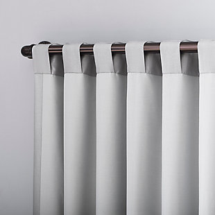 "Sun Zero Evelina Faux Dupioni Silk Thermal Extreme 100% Blackout 50"" x 95"" Chrome Gray Back Tab Curtain Panel, Chrome Gray, large"