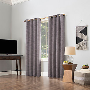"""Sun Zero Kamali Textured Strie Thermal Extreme 100% Blackout 50"""" x 96"""" Fig Grommet Curtain Panel, Fig, large"""