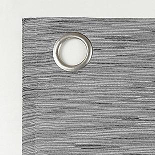 "Sun Zero Kamali Textured Strie Thermal Extreme 100% Blackout 50"" x 84"" Gray Grommet Curtain Panel, Gray, large"