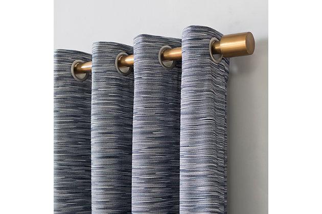 "Sun Zero Kamali Textured Strie Thermal Extreme 100% Blackout 50"" x 96"" Navy Grommet Curtain Panel, Navy, large"