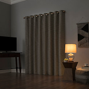 "Sun Zero Kamali Textured Strie Thermal Extreme 100% Blackout 50"" x 84"" Dune Grommet Curtain Panel, Dune, large"