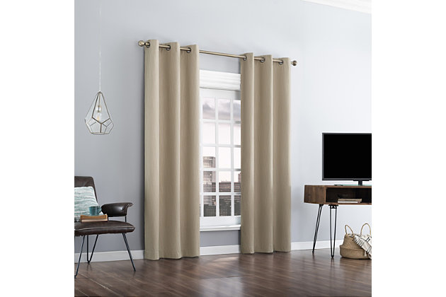 "Sun Zero Damon Pinstripe Stitch Thermal Extreme 100% Blackout 40"" x 63"" Taupe Grommet Curtain Panel, Taupe, large"