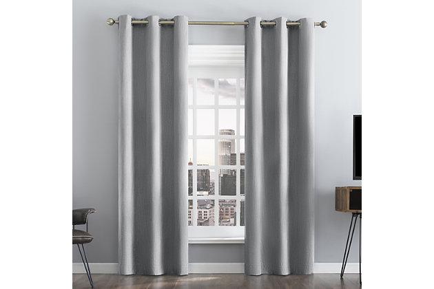 "Sun Zero Damon Pinstripe Stitch Thermal Extreme 100% Blackout 40"" x 84"" Cool Gray Grommet Curtain Panel, Cool Gray, large"