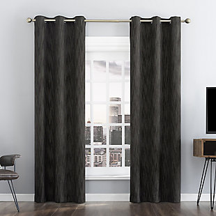 "Sun Zero Damon Pinstripe Stitch Thermal Extreme 100% Blackout 40"" x 84"" Coal Grommet Curtain Panel, Coal, rollover"