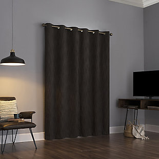 "Sun Zero Damon Pinstripe Stitch Thermal Extreme 100% Blackout 40"" x 84"" Coal Grommet Curtain Panel, Coal, large"