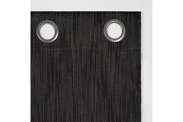 "Sun Zero Damon Pinstripe Stitch Thermal Extreme 100% Blackout 40"" x 84"" Coal Grommet Curtain Panel, Coal, large"