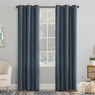 "No. 918 Lindstrom Textured Draft Shield Fleece Insulated Room Darkening 40"" x 84"" Blue Grommet Curtain Panel, Blue, rollover"