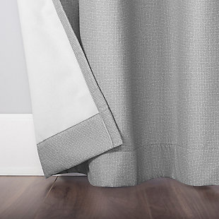 "No. 918 Lindstrom Textured Draft Shield Fleece Insulated Room Darkening 40"" x 96"" Gray Grommet Curtain Panel, Gray, large"