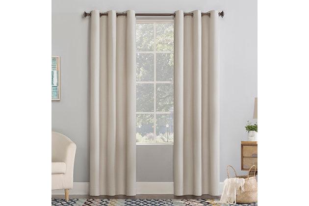 "No. 918 Lindstrom Textured Draft Shield Fleece Insulated Room Darkening 40"" x 84"" Stone Grommet Curtain Panel, Stone, large"