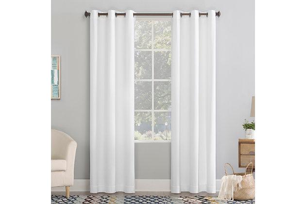 "No. 918 Lindstrom Textured Draft Shield Fleece Insulated Room Darkening 40"" x 84"" White Grommet Curtain Panel, White, large"