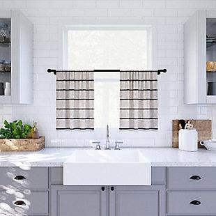 "Clean Window Twill Stripe Anti-Dust Linen Blend Sheer 52"" x 24"" Black/Linen Cafe Curtain Pair, Black/Linen, rollover"