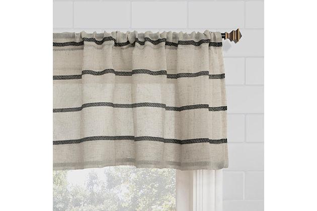 "Clean Window Twill Stripe Anti-Dust Linen Blend Sheer 52"" x 24"" Black/Linen Cafe Curtain Pair, Black/Linen, large"