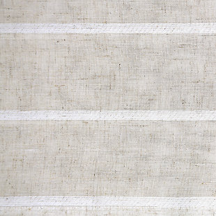"Clean Window Twill Stripe Anti-Dust Linen Blend Sheer 52"" x 24"" White/Linen Cafe Curtain Pair, White/Linen, large"