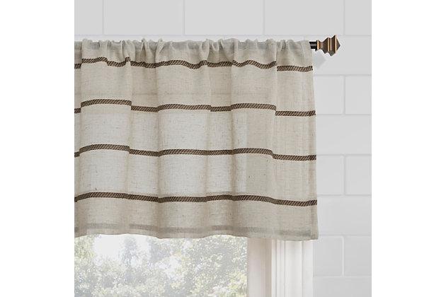 """Clean Window Twill Stripe Anti-Dust Linen Blend Sheer 52"""" x 36"""" Mocha/Linen Cafe Curtain Pair, Mocha/Linen, large"""